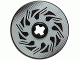 Part No: 2958pb038  Name: Technic, Disk 3 x 3 with Disk Brake Silver / Black Triangle Swirls Pattern (Sticker) - Set 8354