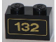 Part No: 3004pb121  Name: Brick 1 x 2 with Gold '132' Pattern