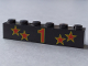 Part No: 3009pb044  Name: Brick 1 x 6 with Red Number 1 and Four Stars with Yellow Borders Pattern