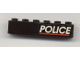 Part No: 3009pb134R  Name: Brick 1 x 6 with White 'POLICE' and Red Line on Black Background Pattern Right Side (Sticker) - Set 6598