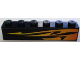 Part No: 3009pb139R  Name: Brick 1 x 6 with Orange Flames Pattern, Model Right (Sticker) - Set 8898