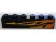 Part No: 3009pb139R  Name: Brick 1 x 6 with Orange Flames Pattern, Model Right (Sticker) - Set 8898