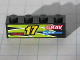 Part No: 3010pb113R  Name: Brick 1 x 4 with Yellow '17' and Red 'HOURZ' and 'eRAV' and 'RUSA' and Black and Lime Flames Pattern Model Right side (Sticker) - Set 8119