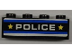 Part No: 3010pb150  Name: Brick 1 x 4 with Blue and White Stripes, 'POLICE' and 2 Yellow Stars Pattern (Sticker) - Set 8197