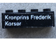 Part No: 3010pb179L  Name: Brick 1 x 4 with 'Kronprins Frederik Korsør' Pattern, 'Korsør' on Left (Sticker) - Set 1660