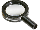 Part No: 30152c03  Name: Minifigure, Utensil Magnifying Glass Thin Frame and Hollow Handle with Trans-Clear Lens