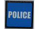 Part No: 30258pb026  Name: Road Sign Clip-on 2 x 2 Square with White 'POLICE' on Blue Background Pattern (Sticker) - Set 7498