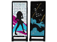 Part No: 30292pb021  Name: Flag 7 x 3 with Rod with Medium Azure Smoke, Stars and Gold Stripes / Black Female Dancer Silhouette Type 1 Pattern (Stickers) - Set 41105