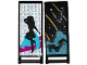 Part No: 30292pb023  Name: Flag 7 x 3 with Rod with Medium Azure Smoke, Stars and Gold Stripes / Black Female Dancer Silhouette Type 3 Pattern (Stickers) - Set 41105
