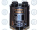 Part No: 30361px5  Name: Brick, Round 2 x 2 x 2 Robot Body with Silver Lines and Copper Pattern (Imperial Astromech Droid)