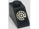 Part No: 3040apb03  Name: Slope 45 2 x 1 - without Bottom Tube with White Rotary Telephone on Black Background Pattern (Sticker) - Set 268