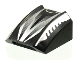 Part No: 30602pb016  Name: Slope, Curved 2 x 2 Lip, No Studs with Sleek Silver and Black Pattern