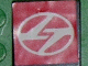 Part No: 3068bpb0098  Name: Tile 2 x 2 with Groove with White Stylized 'LT' in Ellipse on Red Pattern (Sticker) - Set 8448