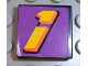 Part No: 3068bpb0103  Name: Tile 2 x 2 with Groove with Number  1 Yellow on Purple Background Pattern (Sticker) - Set 2854