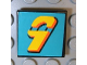 Part No: 3068bpb0105  Name: Tile 2 x 2 with Groove with Number  9 Yellow on Turquoise Background Pattern (Sticker)