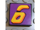 Part No: 3068bpb0106  Name: Tile 2 x 2 with Groove with Number  6 Yellow on Purple Background Pattern (Sticker) - Set 8257