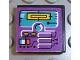 Part No: 3068bpb0110  Name: Tile 2 x 2 with Groove with Turquoise Screen on Purple Background Pattern (Sticker)