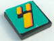 Part No: 3068bpb0114  Name: Tile 2 x 2 with Groove with Number  4 Yellow on Turquoise Background Pattern (Sticker) - Set 8257
