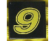 Part No: 3068bpb0132  Name: Tile 2 x 2 with Groove with Number  9 Yellow on Black Background Pattern (Sticker) - Set 8440