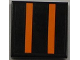 Part No: 3068bpb0438  Name: Tile 2 x 2 with Groove with Two Orange Stripes on Black Background Pattern (Sticker) - Set 8186