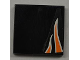 Part No: 3068bpb0447L  Name: Tile 2 x 2 with Groove with Orange Flames on Black Background Pattern Model Left (Sticker) - Set 8125