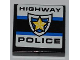 Part No: 3068bpb0454  Name: Tile 2 x 2 with Groove with 'HIGHWAY POLICE' and Police Yellow Star Badge Pattern  (Sticker) - Set 8197