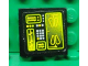 Part No: 3068bpb0488  Name: Tile 2 x 2 with Groove with Buttons and Neon Green Screens on Black Background Pattern (Sticker) - Set 8107