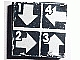 Part No: 3068bpb0621  Name: Tile 2 x 2 with Groove with White Arrows Down, Left, Right, UP and 1,2,3,4 on Black Background Pattern (Sticker) - Set 8094