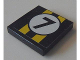 Part No: 3068bpb0672  Name: Tile 2 x 2 with Groove with Two Yellow Stripes and Black Number 7 in White Circle Pattern (Sticker) - Set 8154