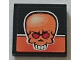 Part No: 3068bpb0863  Name: Tile 2 x 2 with Groove with Orange Skull on Black and Orange Background Pattern (Sticker) - Set 8164
