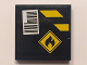 Part No: 3068bpb1006  Name: Tile 2 x 2 with Groove with Black and Yellow Danger Stripes, Flammable Danger Sign and Barcode on Black Background Pattern (Sticker) - Set 60101