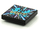 Part No: 3068bpb1563  Name: Tile 2 x 2 with Groove with BeatBit Album Cover - Bright Light Blue Alien Dancers Pattern