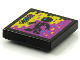 Part No: 3068bpb1567  Name: Tile 2 x 2 with Groove with BeatBit Album Cover - Black Minifigure in Yellow and Purple Splotches Pattern