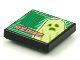 Part No: 3068bpb1619  Name: Tile 2 x 2 with Groove with BeatBit Album Cover - Green Door and Yellowish Green Ghost Pattern