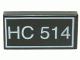 Part No: 3069bpa1  Name: Tile 1 x 2 with White 'HC 514' Text Pattern