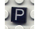 Part No: 3070bpb024  Name: Tile 1 x 1 with Groove with Letter Capital P Pattern