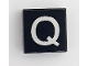 Part No: 3070bpb025a  Name: Tile 1 x 1 with Groove with Letter Capital Q Pattern - Smaller Font and Rectangular Line