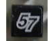 Part No: 3070bpb049  Name: Tile 1 x 1 with Groove with Number 57 Pattern (Sticker) - Set 8643