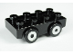Part No: 31202c03pb02  Name: Duplo Car Base 2 x 4 with 4 Black Tires with Silver Hubs Pattern