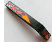 Part No: 32271pb003L  Name: Technic, Liftarm 1 x 9 Bent (7 - 3) Thick with Flames and Checkered Pattern Left (Stickers) - Set 8645