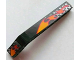 Part No: 32271pb003R  Name: Technic, Liftarm 1 x 9 Bent (7 - 3) Thick with Flames and Checkered Pattern Right (Stickers) - Set 8645