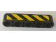 Part No: 32316pb029L  Name: Technic, Liftarm 1 x 5 Thick with Black and Yellow Danger Stripes Pattern Model Left Side (Sticker) - Set 42082