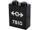 Part No: 3245cpb114  Name: Brick 1 x 2 x 2 with Inside Stud Holder with White '7810' and Train Logo on Black Background Pattern (Sticker) - Set 40370