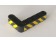 Part No: 32526pb018L  Name: Technic, Liftarm 3 x 5 L-Shape Thick with Black and Yellow Danger Stripes Pattern Model Left Side (Stickers) - Set 42082