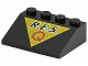 Part No: 3297px15  Name: Slope 33 3 x 4 with Black 'R.E.S.' and Red 'Q' on Yellow Triangle Pattern