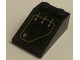 Part No: 3298pb068L  Name: Slope 33 3 x 2 with Silver Circuitry, 3 Lines Straight in Lime Outline Pattern (Sticker) - Set 7709