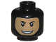 Part No: 3626bpb0664  Name: Minifigure, Head Balaclava with Face Hole, Stubble and Rakish Smile Pattern - Blocked Open Stud