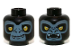 Part No: 3626cpb0970  Name: Minifigure, Head Dual Sided Alien Chima Gorilla with Yellow Eyes, Fangs and Sand Blue Face, Closed Mouth / Open Mouth Pattern (Gorzan) - Hollow Stud
