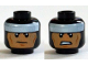 Part No: 3626cpb1273  Name: Minifigure, Head Dual Sided Balaclava, White Headband, Cheek Lines, Scowl / Clenched Teeth Pattern (Batman) - Hollow Stud