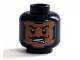 Part No: 3626cpb1372  Name: Minifigure, Head Balaclava, Flesh Face with Bared Teeth, Black Thin Moustache Pattern - Hollow Stud